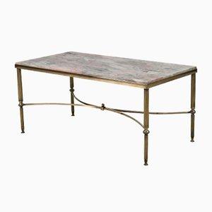 Table Basse Mid-Century en Laiton & Marbre, Italie