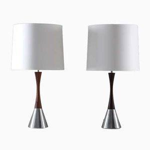 Mid-Century Scandinavian Aluminum & Rosewood Table Lamps from Bergboms, 1960s, Set of 2