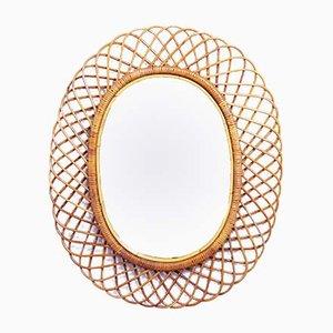 Specchio vintage in vimini, anni '70