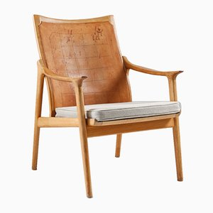 Leather & Oak Model 4093 Armchair by Hans Brattrud for Norcraft, 1950s