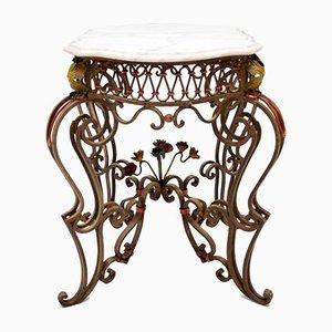 Table Antique en Fer Peint et Marbre