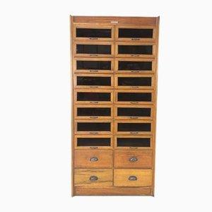 Mueble de mercería Mid-Century de roble, años 50