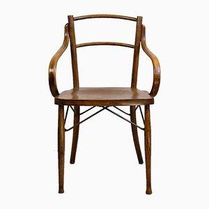 Silla de comedor francesa Art Nouveau antigua de madera curvada, años 10