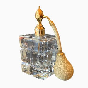 Mid-Century French Brass & Crystal Perfume Bottle from Marcel Franck, 1950s