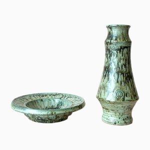 Vaso e piatto vintage in ceramica di AWF Arnold Wiigs Fabrikker, Norvegia