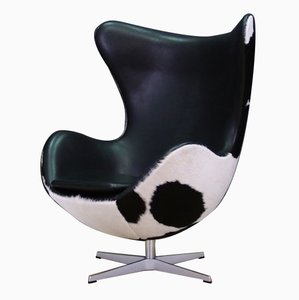 Danish Steel and Cow Leather Egg Lounge Chair by Arne Jacobsen for Fritz Hansen, 1980s