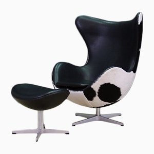 Danish Steel and Cow Leather Lounge Chair by Arne Jacobsen for Fritz Hansen, 1980s