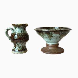 Dänisches Vintage Set mit Schale & Krug aus Steingut und glasierter Keramik von Peter Fitzner