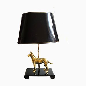 Vintage Brass Dog Table Lamp, 1980s