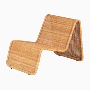 Italian Rattan P3 Chaise Lounge by Tito Agnoli for Pierantonio Bonacina, 1960s