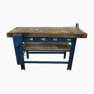 Mid-Century Industrial French Oak Worktable, 1950s