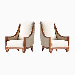 Art Deco Armlehnstühle aus Walnussholz von André Sornay, 1920er, 2er Set