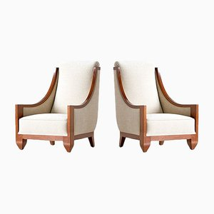 Walnut Art Deco Armchairs by André Sornay, 1920s, Set of 2