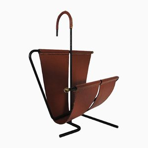 Leather Magazine Rack by René Legrand & Mado Jolain, 1956