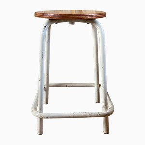 Industrial Metal & Wood Workshop Stool, 1970s