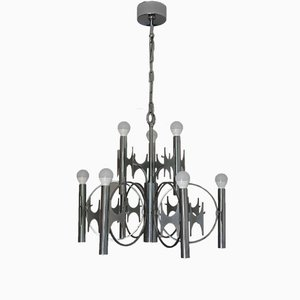 Large Brutalist Chromed Brass Chandelier by Gaetano Sciolari, 1970s