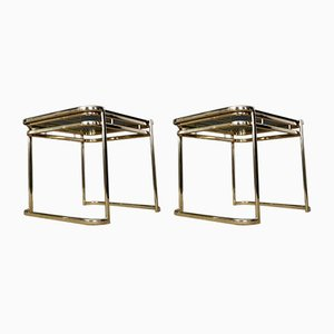 Italian Brass and Smoked Glass Side Tables by Milo Baughman for Morex, 1970s, Set of 2