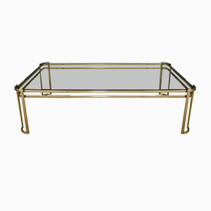 Italian Brass and Smoked Glass Coffee Table by Milo Baughman for Morex, 1970s