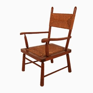Mid-Century Woven Straw Armchair, 1950s