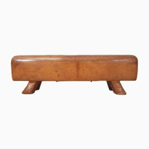 Mid-Century Beech and Leather Bench, 1960s