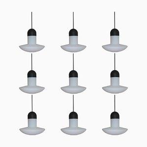 Lámparas colgantes alemanas de vidrio opalino de Limburg, años 60. Juego de 9