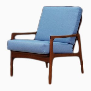 Mid-Century Danish Fabric and Teak Lounge Chair, 1960s