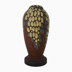 Art Deco French Ceramic Vase by Jean Leclerc, 1930s