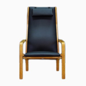 Danish Model No. 4335 Ash & Eco-Leather Lounge Chair by Arne Jacobsen for Fritz Hansen, 1960s