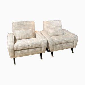 Weiße Sessel mit schwarzen Holzbeinen, 1950er, 2er Set