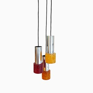 Lampe à Suspension en Résine Craquelée et Chrome, 1970s