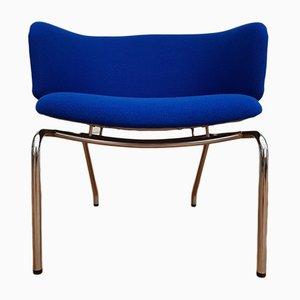 Skandinavischer Sessel aus verchromtem Holz mit Wollbezug, 1960er