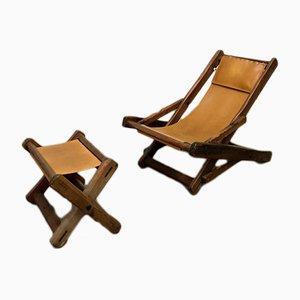 French Leather & Fir Garden Chair with Ottoman, 1960s
