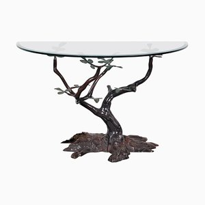 Consola con base en forma de bonsai, años 70