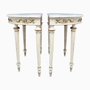 19th Century French Painted Console Tables, Set of 2
