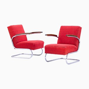 Chrome Tubular Steel Cantilever S411 Armchairs from Thonet, 1930s, Set of 2