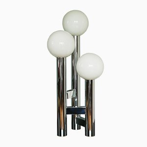 Chrome Plating and Opaline Glass Table Lamp, 1970s