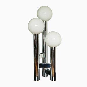 Lámpara de mesa cromada y vidrio opalino, años 70