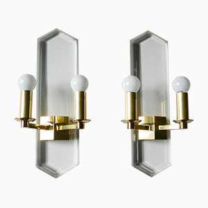 German Brass and Perspex Sconces from Vereinigte Werkstätten Collection, 1970s, Set of 2