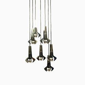 Deutsche Mid-Century Deckenlampe aus verchromtem Metall
