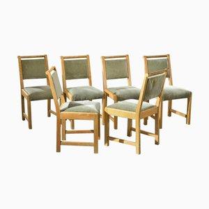 Esszimmerstühle aus Eschenholz von Francisque Chaleyssin, 1940er, 6er Set