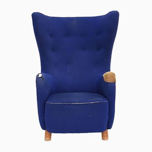 Blue Wool Lounge Chair by Mogens Lassen, 1960s