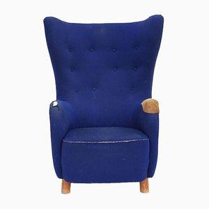 Blue Wool Lounge Chair by Mogens Lassen, 1960s