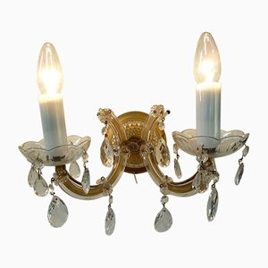 Mid-Century German Brass & Crystal Sconces, 1960s, Set of 2