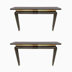 Consolas italianas de madera lacada y latón, años 80. Juego de 2