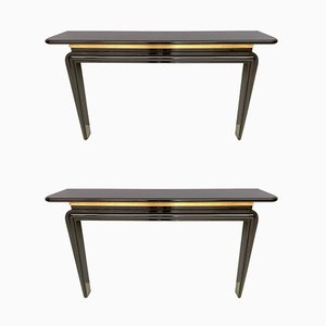 Italian Lacquered Wood & Brass Console Tables, 1980s, Set of 2