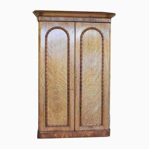Antiker viktorianischer Kleiderschrank aus Satinholz & Furnier