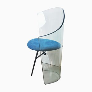 Vintage Curved Glass Armchair, 1970s