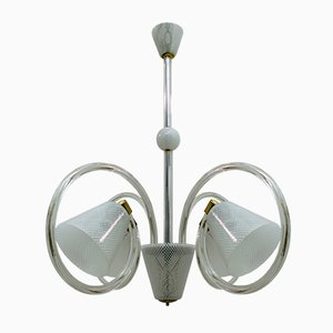 Italian Reticello Murano Glass Ceiling Lamp by Ercole Barovier for Barovier & Toso, 1940s