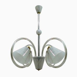 Lampada da soffitto Reticello in vetro di Murano di Ercole Barovier per Barovier & Toso, anni '40