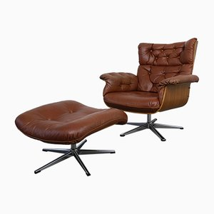 German Leather Lounge Chair & Ottoman, 1960s